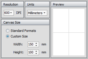 Figure Maker dimensions and resolution settings