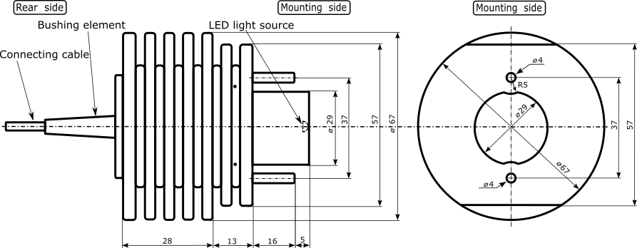 PRO-LM-LED-30W illuminator dimensions