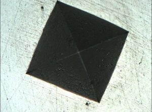Vickers hardness test imprint composed by Deep Focus